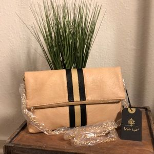 Black and cream striped faux leather clutch
